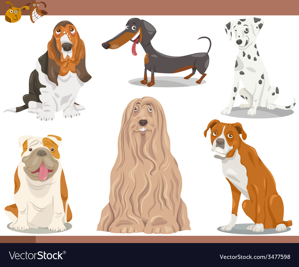 Dog breeds cartoon set