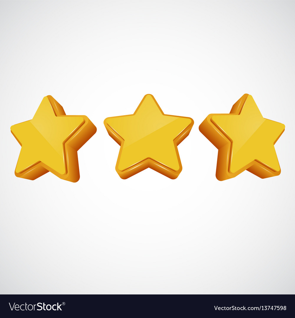 Golden star in different angles vector image