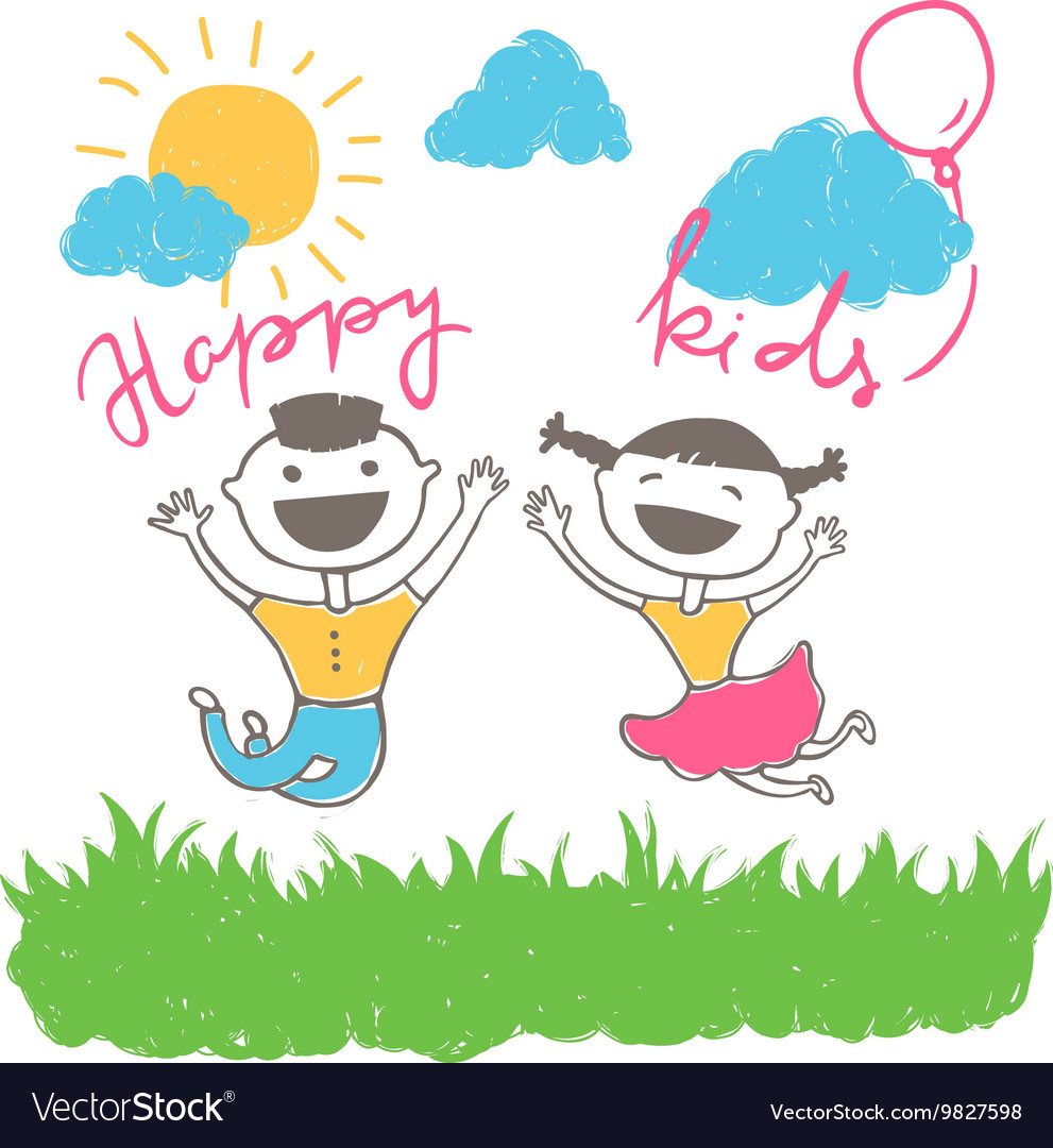 Happy kids having fun vector