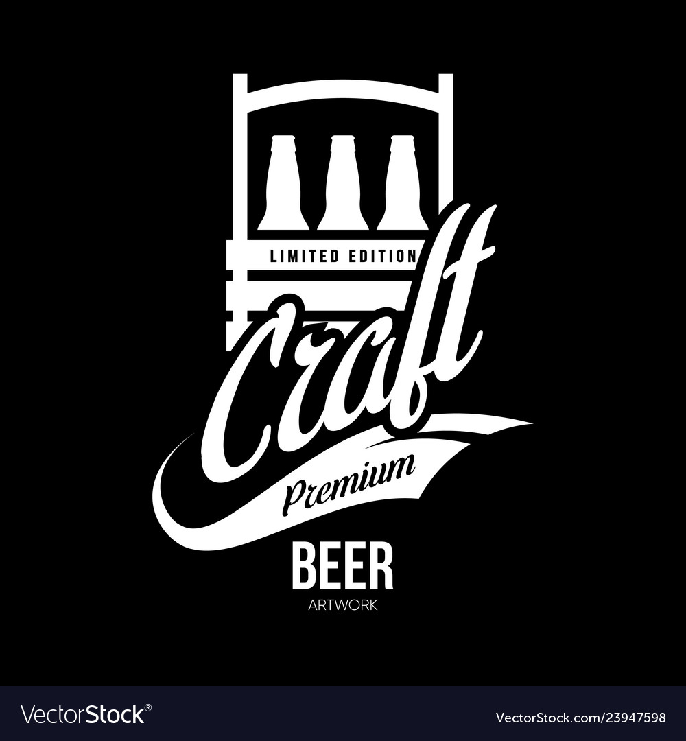 Modern craft beer drink isolated logo