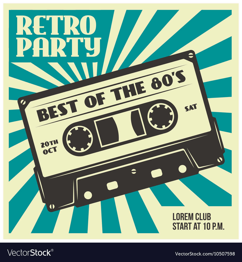 Retro party poster template with audio cassette