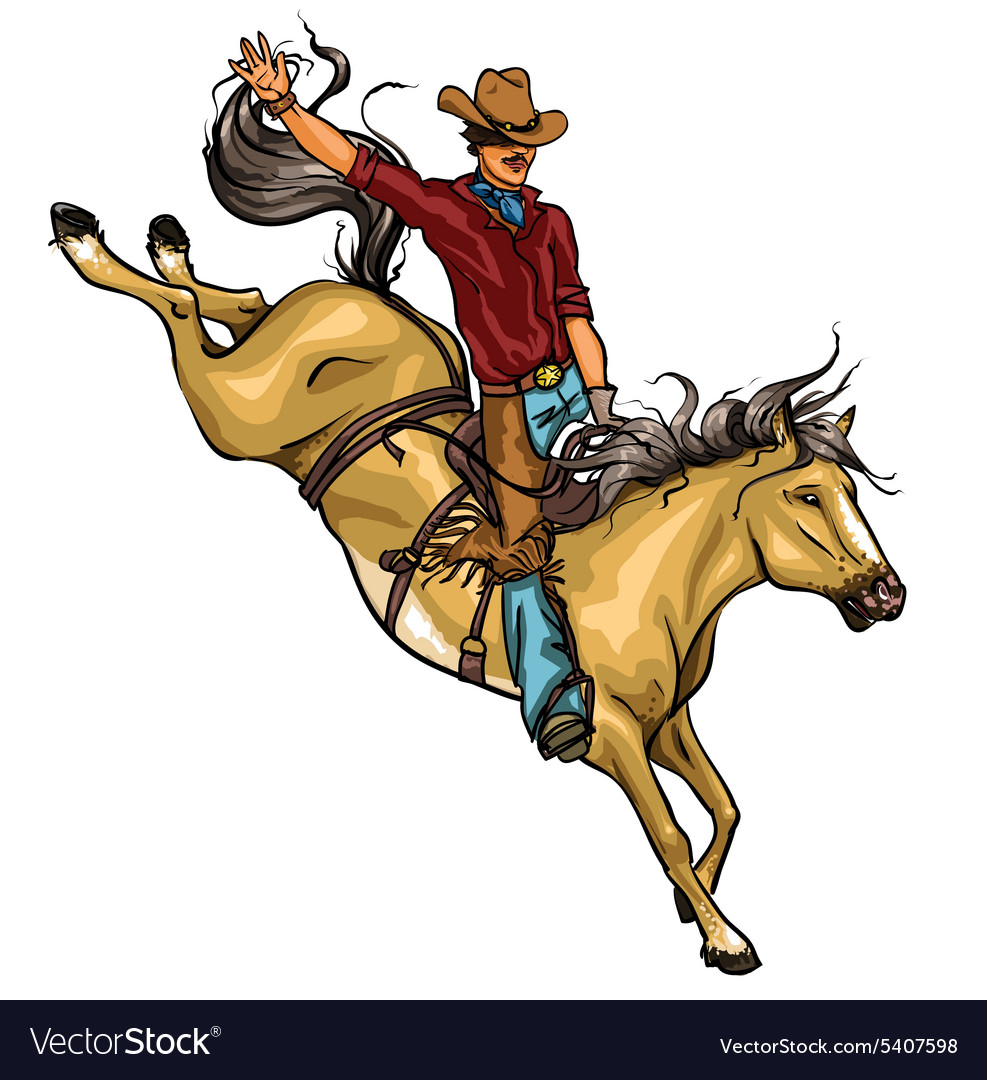 Rodeo Cowboy riding a horse isolated