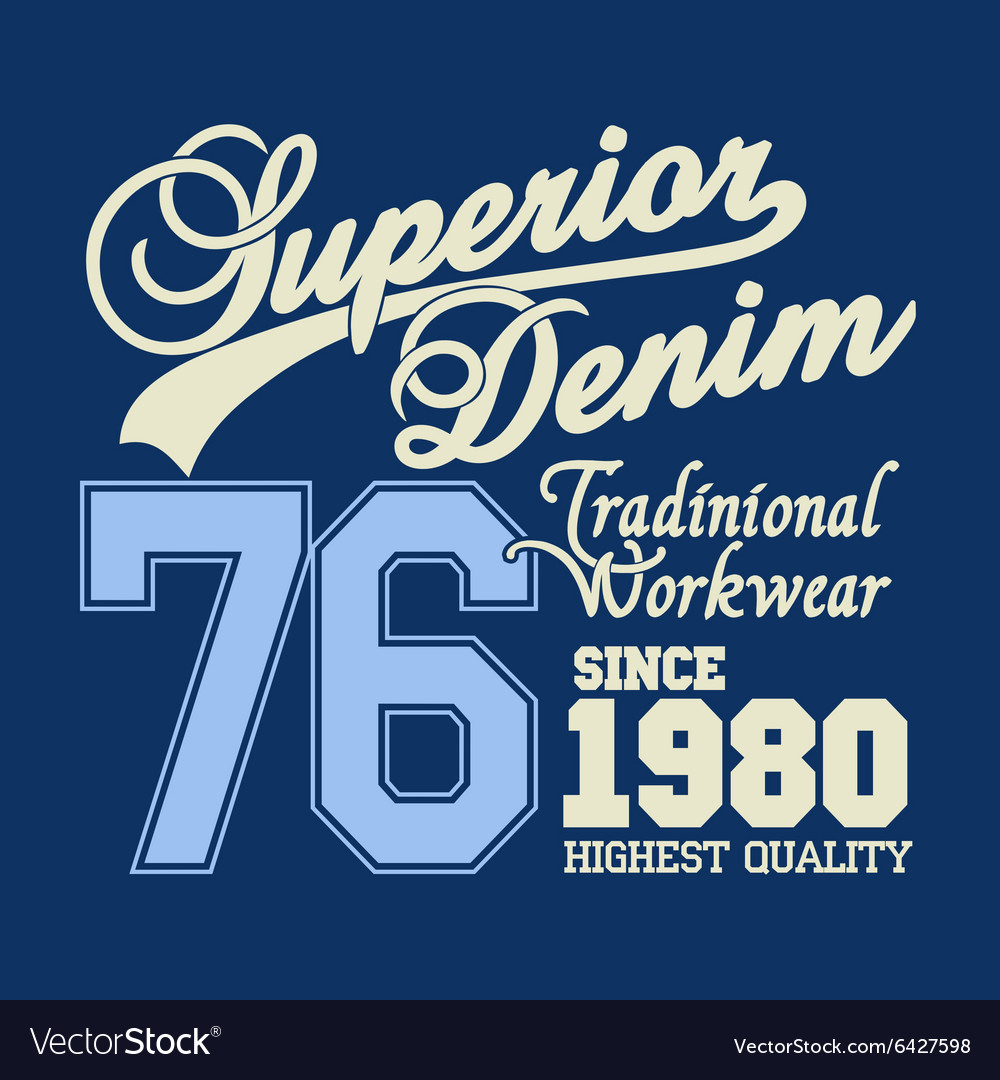 Superior denim logo workwear print