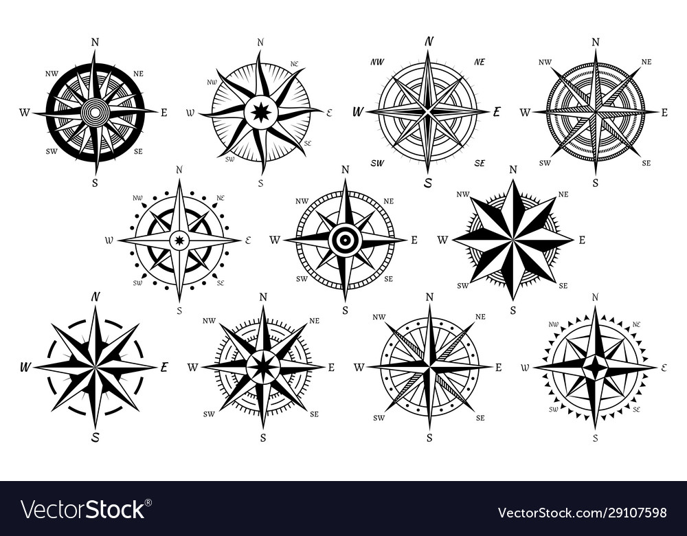 Vintage compass windrose antique compasses