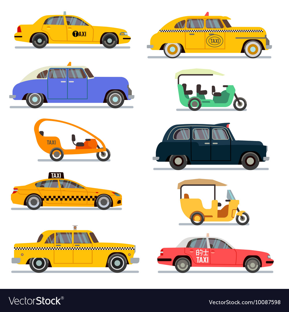 World Famous Taxi Cars Set Royalty Free Vector Image