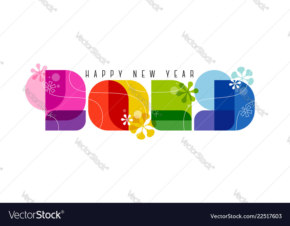 60s retro style numbers 2019 and happy new year