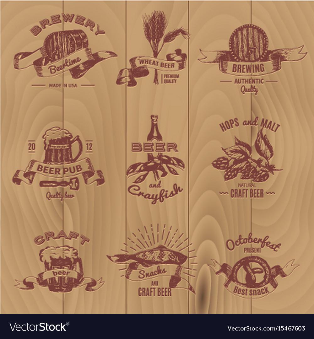 Beer vintage design emblems set