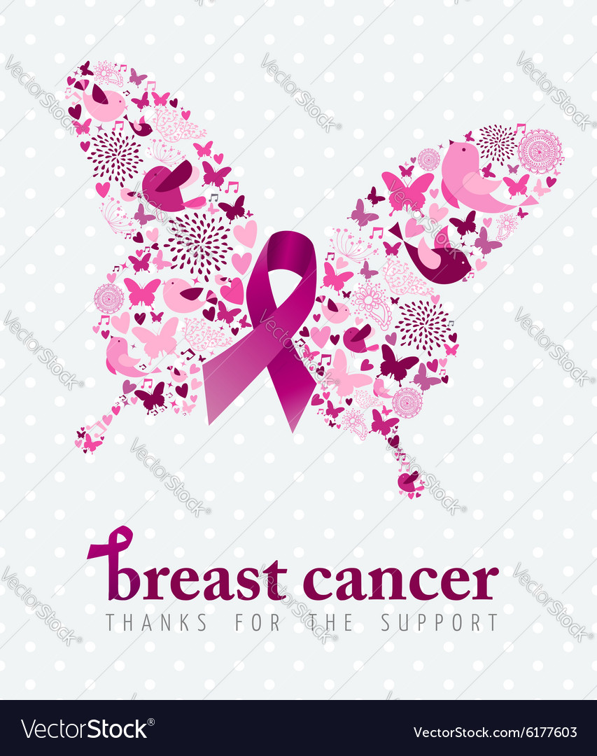 Breast cancer support poster pink ribbon butterfly