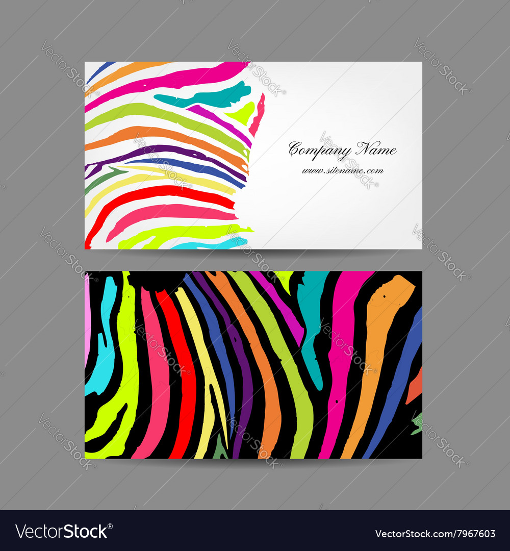 Business card colorful zebra print design vector image reheart Choice Image
