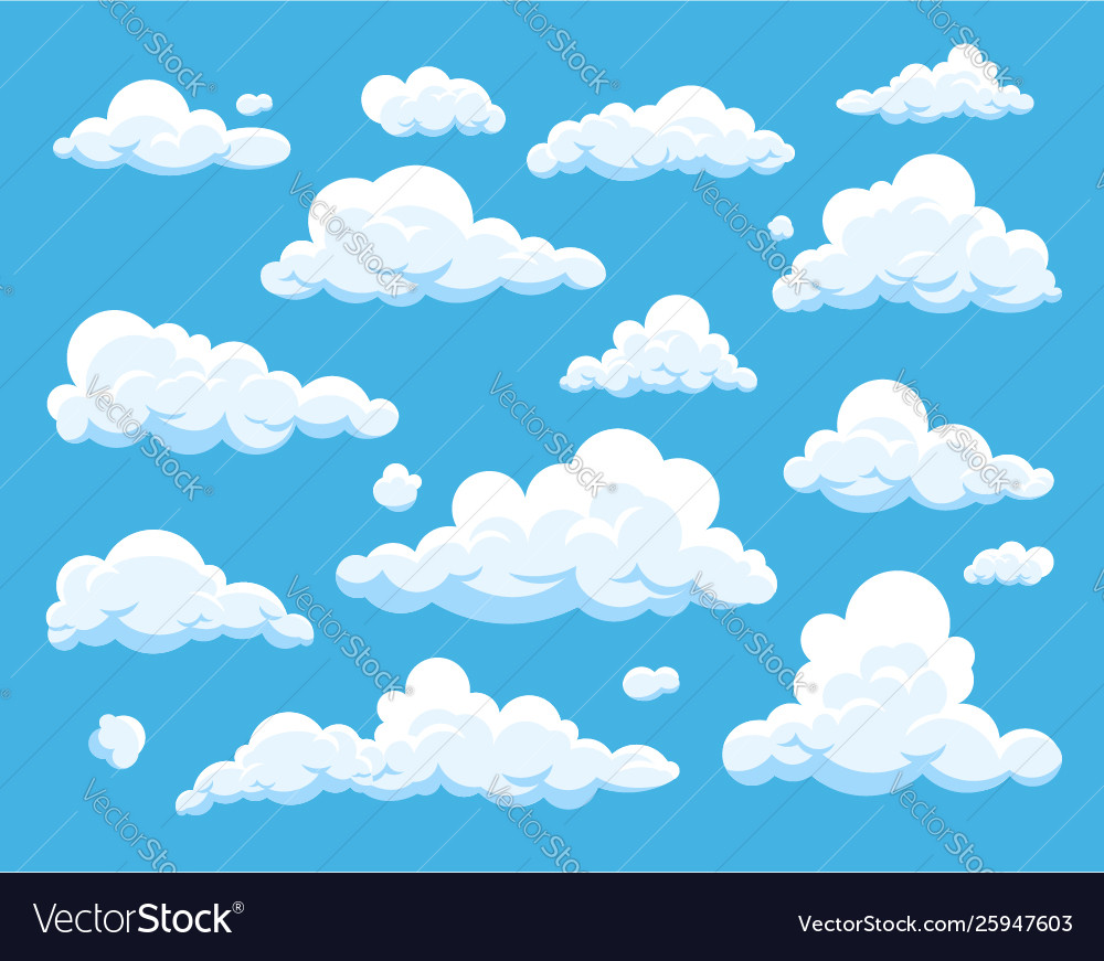 Collection cloud icons in flat style