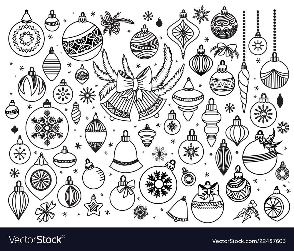 Doodle set of christmas decoratins
