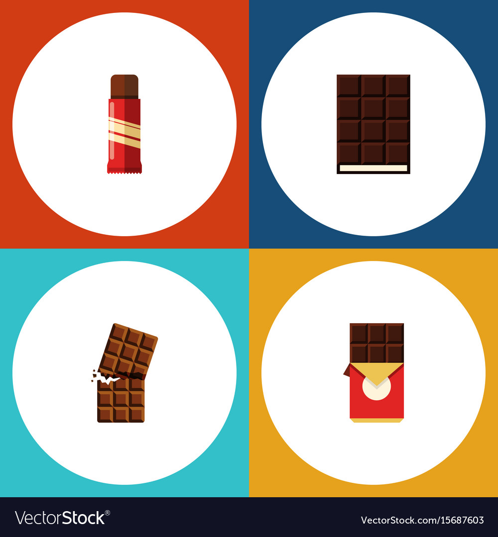 Flat icon cacao set of wrapper dessert chocolate