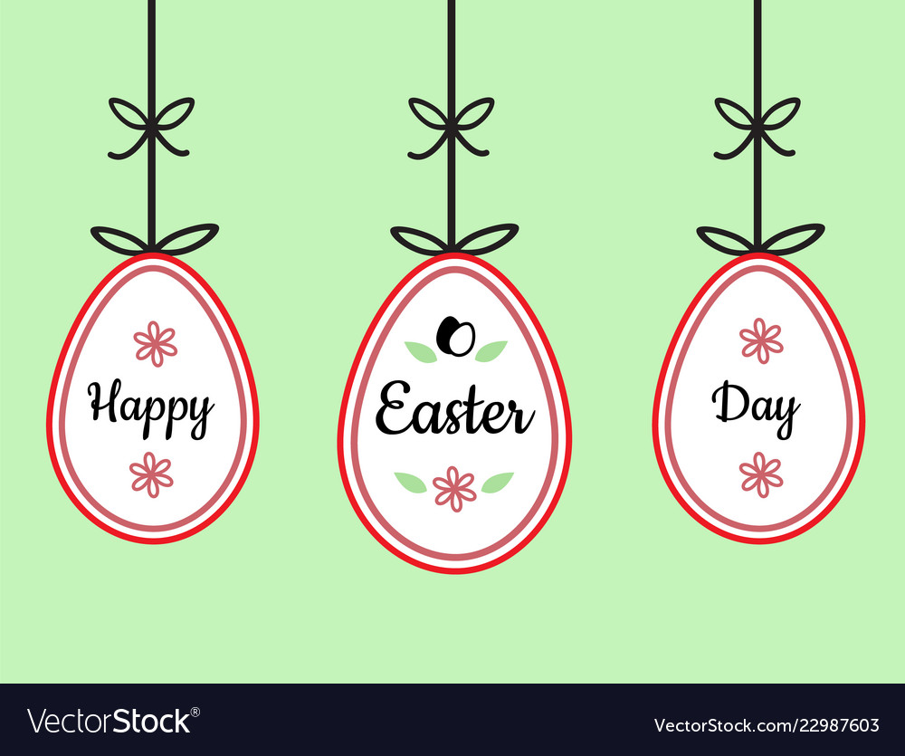 Happy easter day text sign on hanging easter eggs