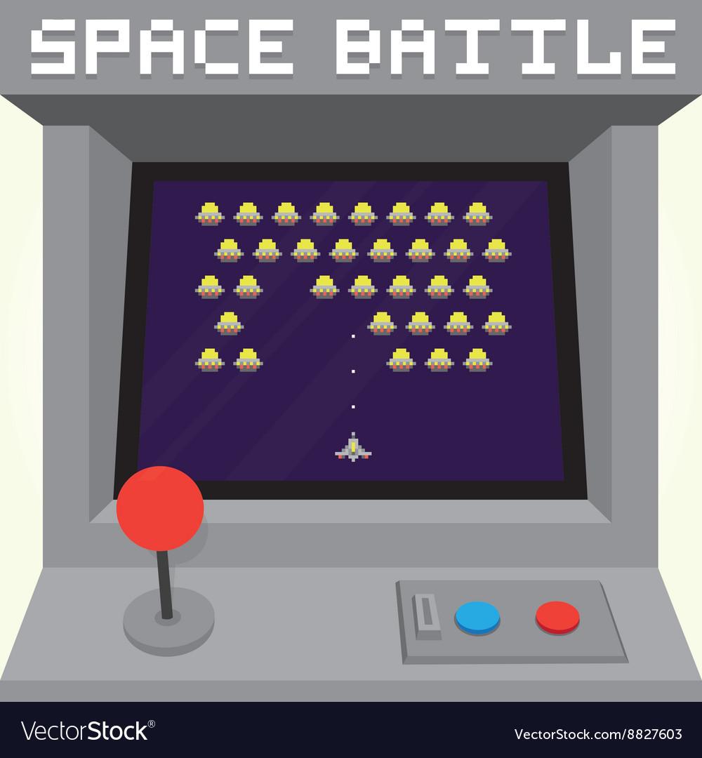 Old school pixel art style ufo arcade machine game