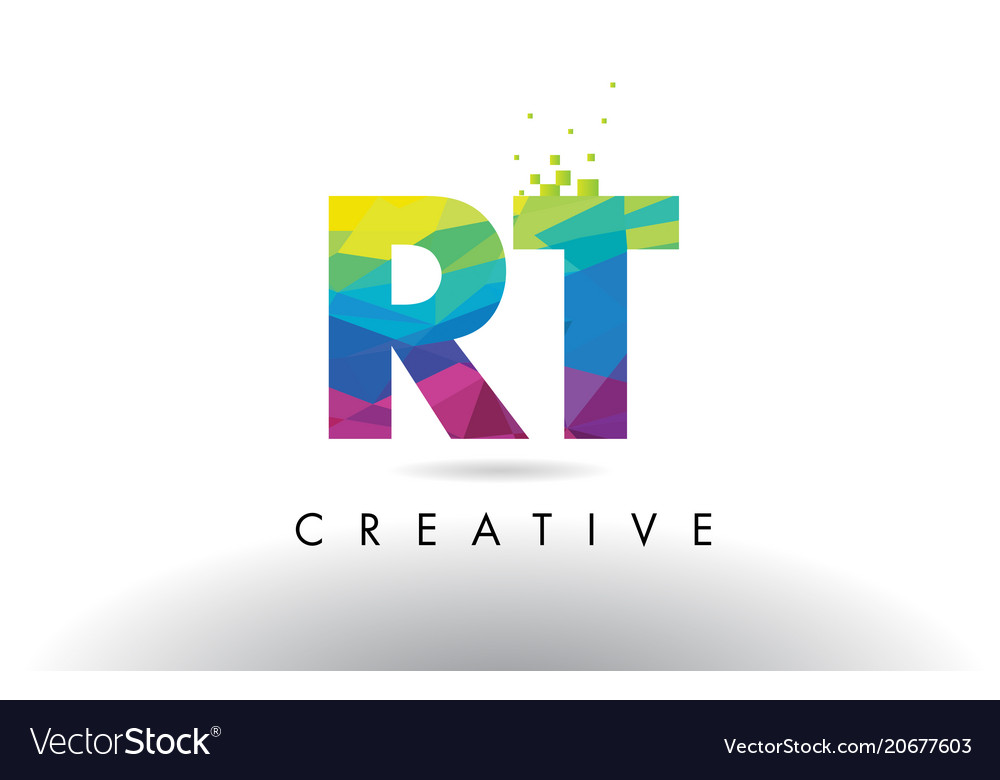 Rt R T Colorful Letter Origami Triangles Design Vector Image