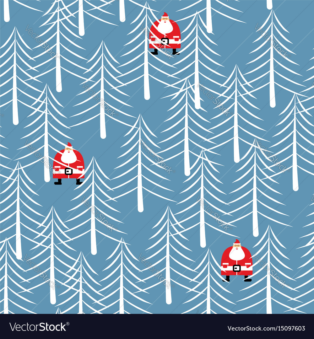 Santa claus in forest seamless pattern white