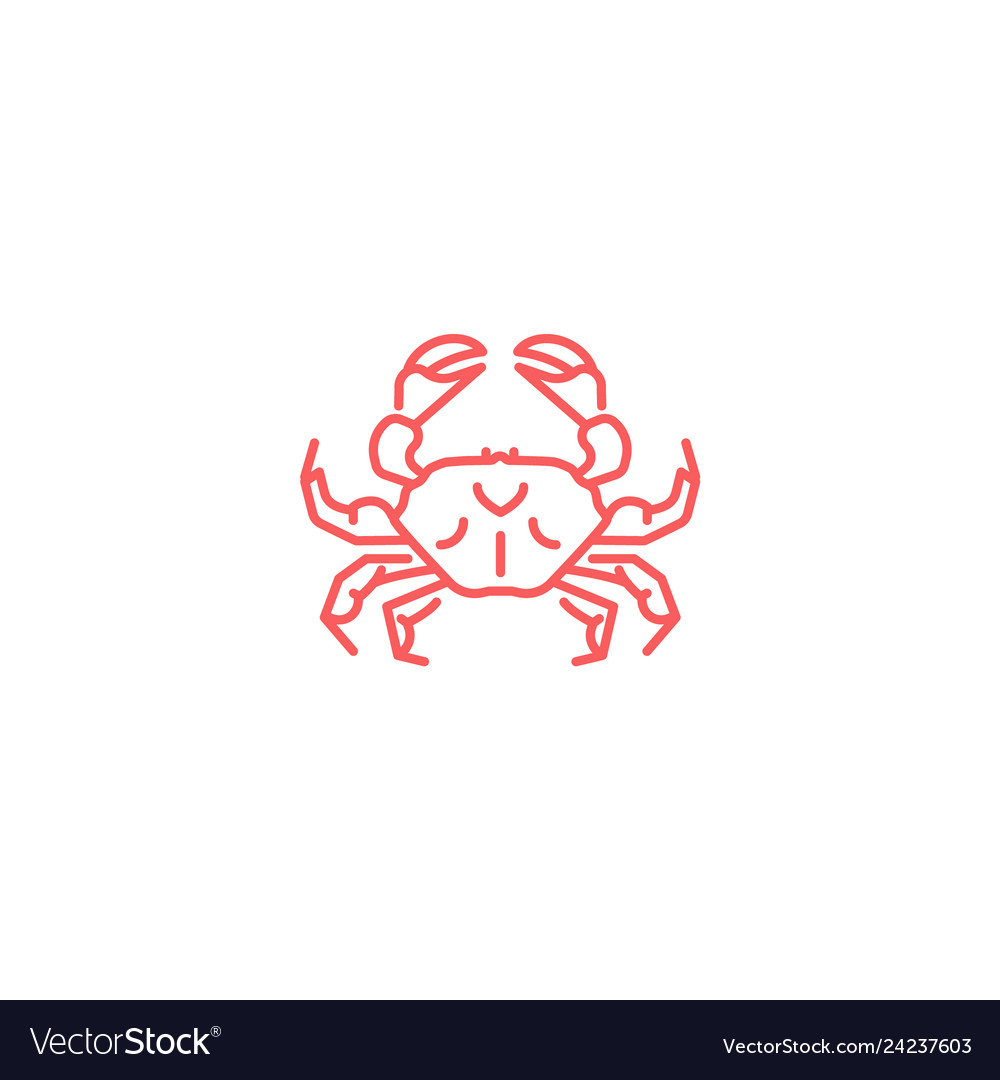 Simple flat red crab icon linear slyle