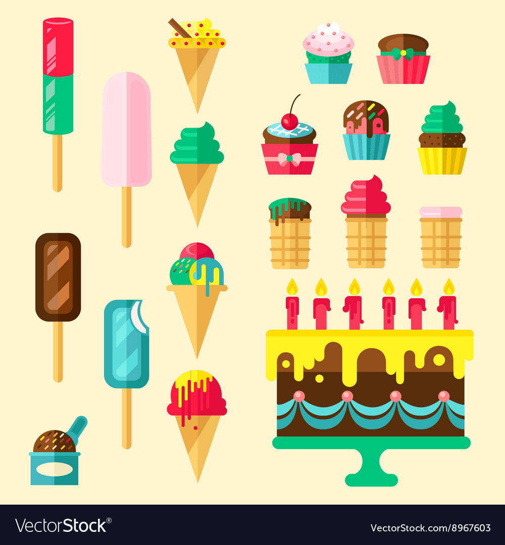 Sweets Cupcakes Icon Set vector image