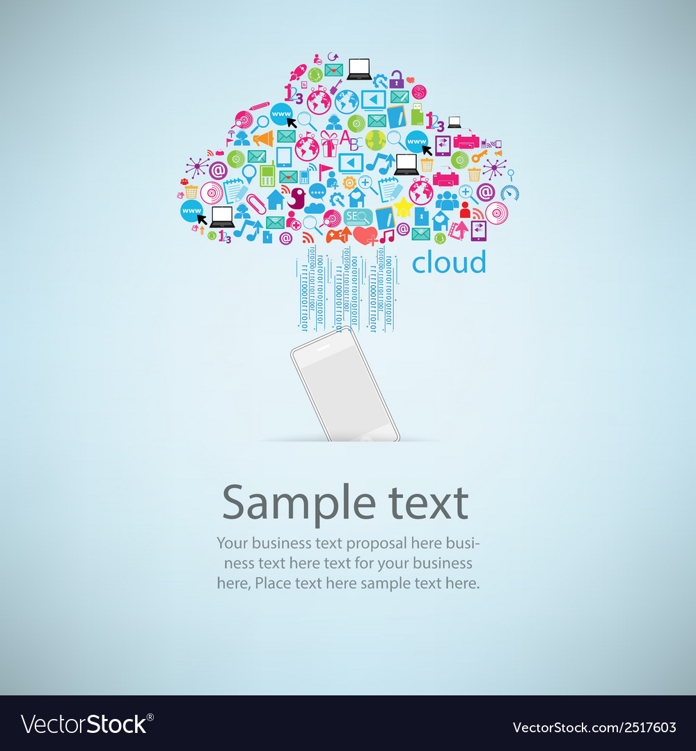 Template Design Phone Idea With Clicking Cloud Vector Image