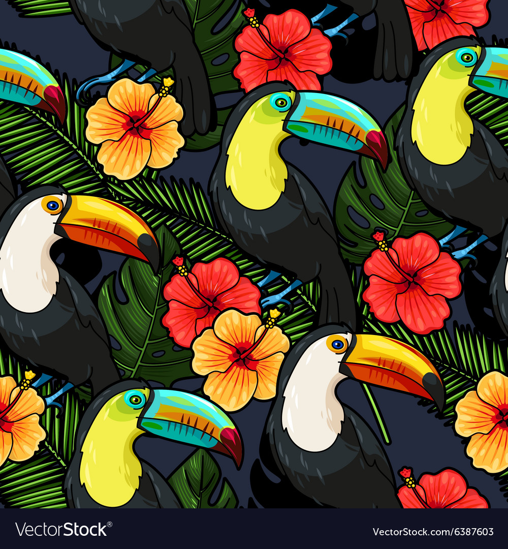 Toucan and hibiscus seamless