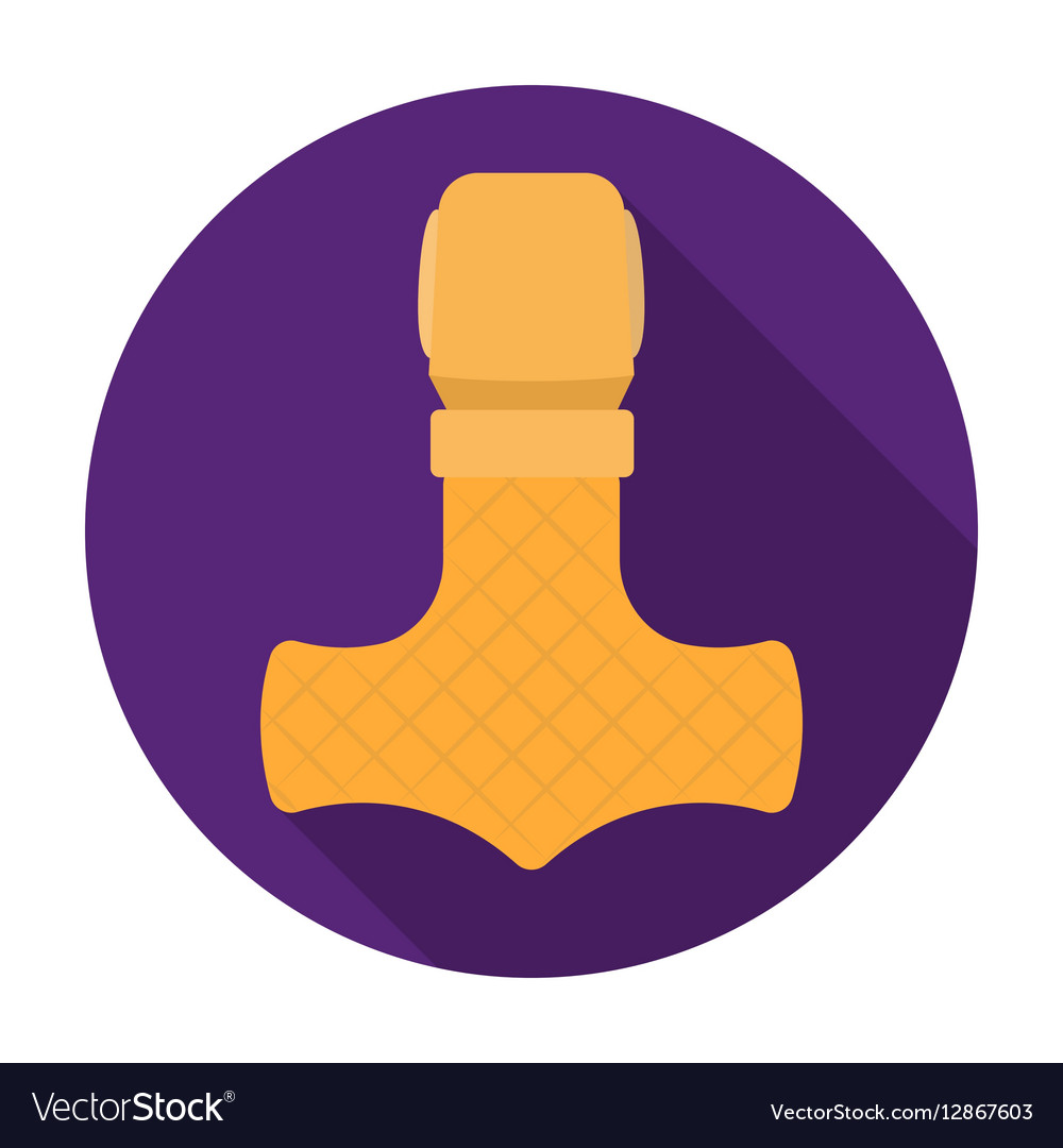 Viking god hammer icon in flat style isolated on vector image