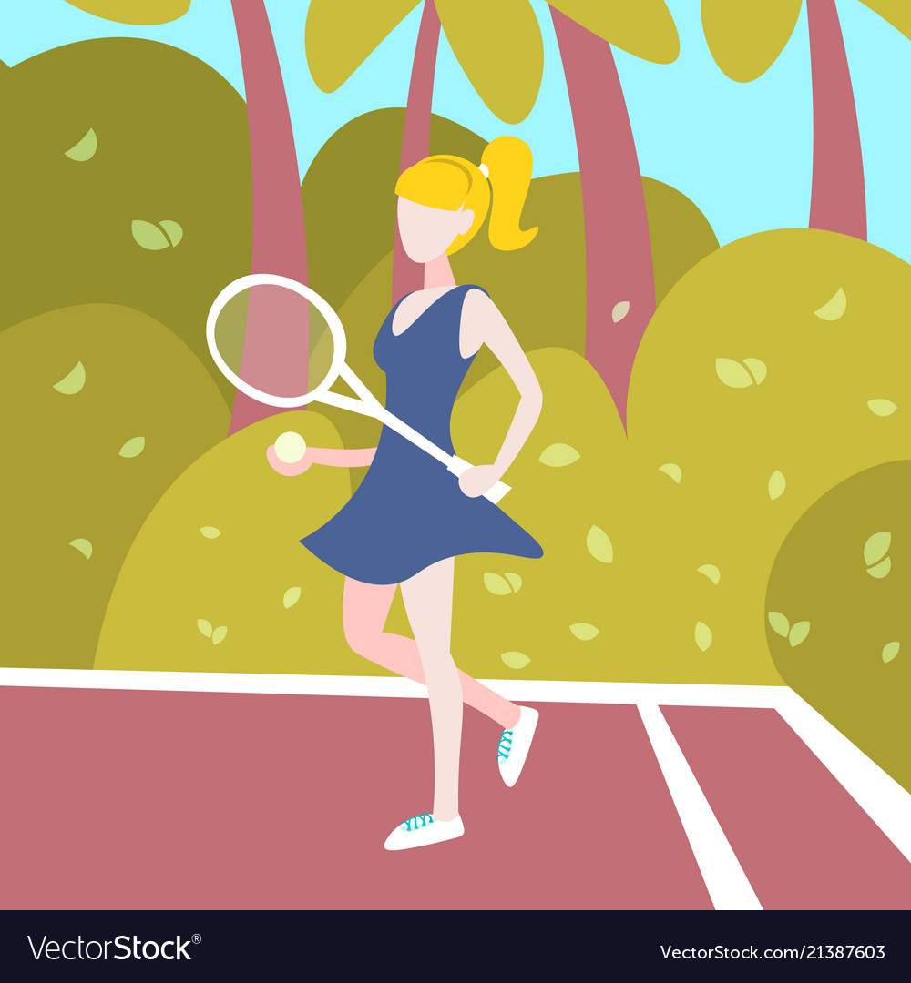 Woman tennis player hold racket outdoor palm