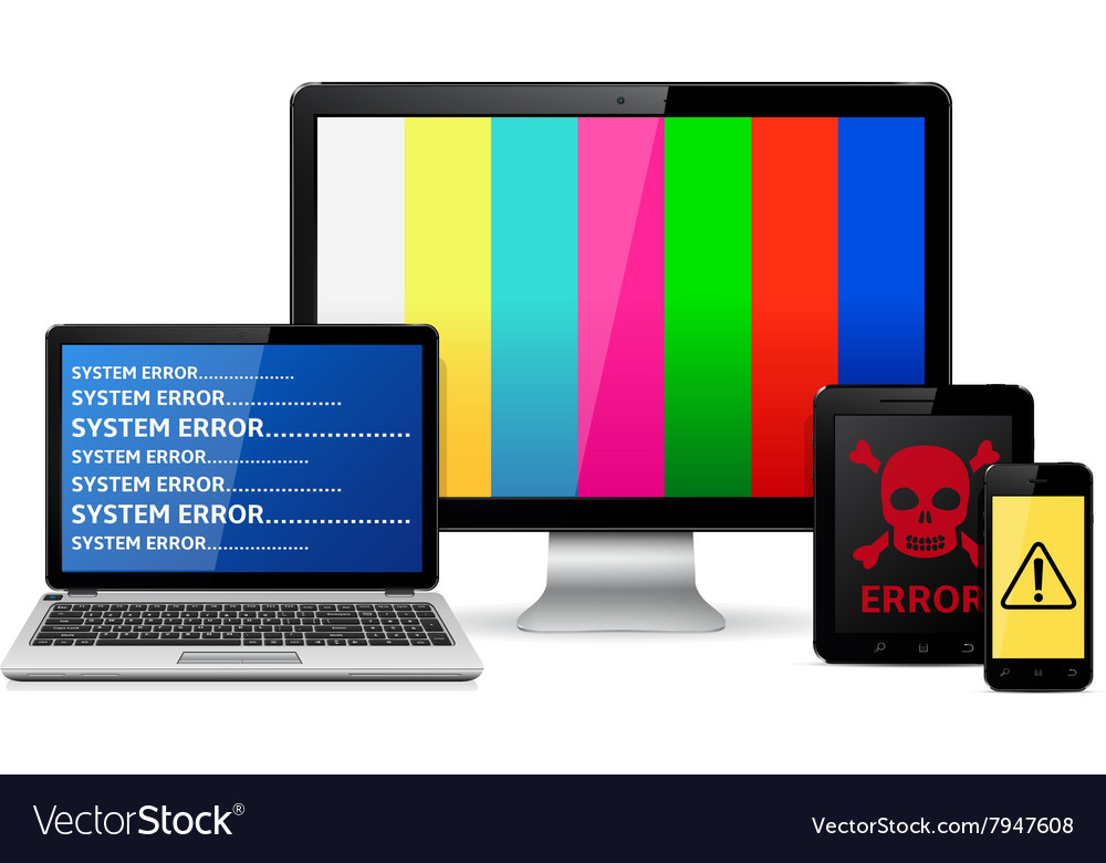 Destroyed digital devices vector image