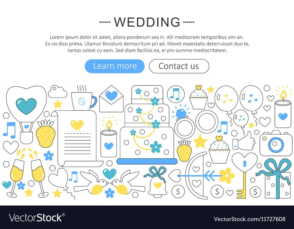 Elegant thin flat line Wedding concept vector image