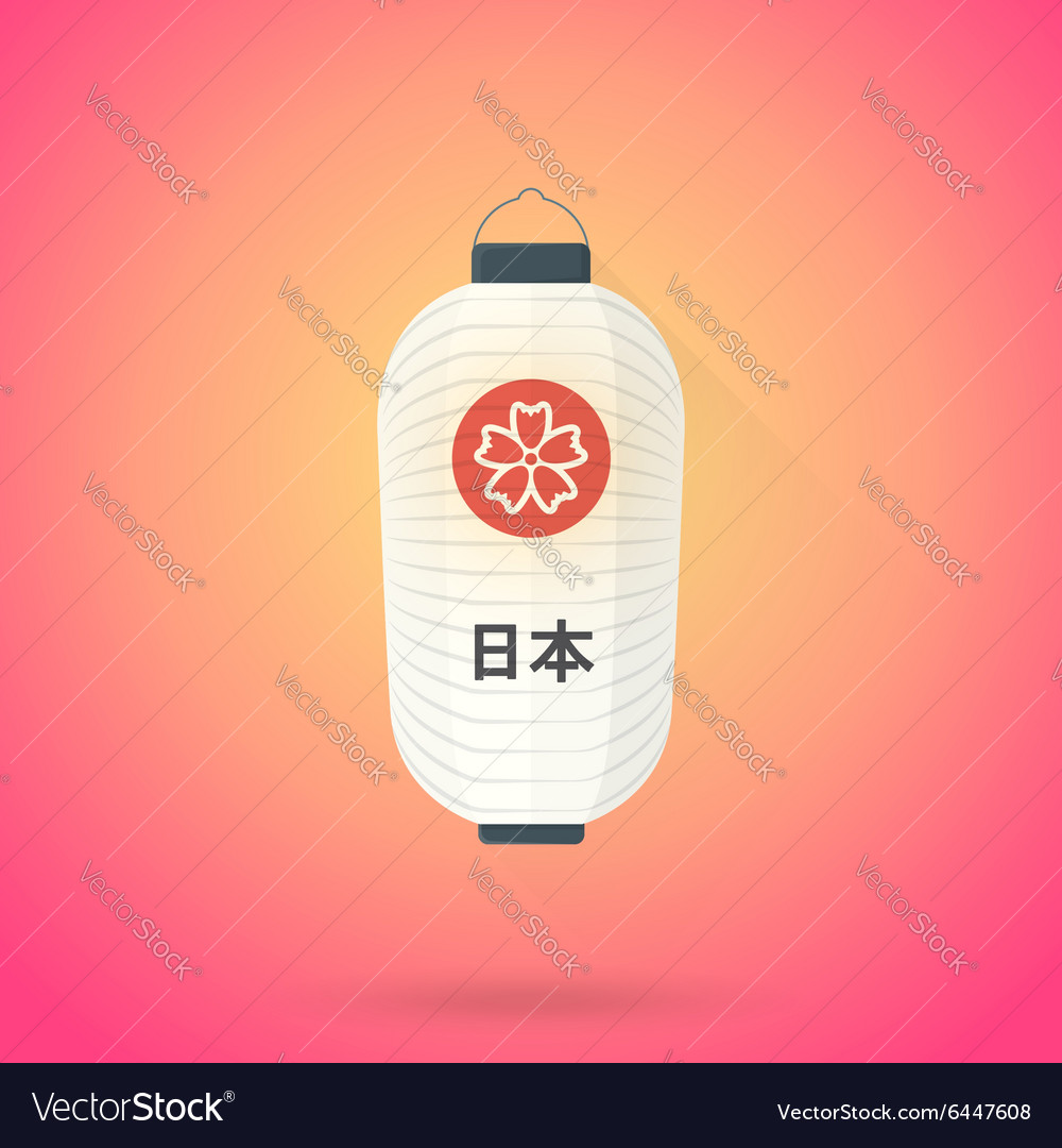 Flat abstract white japan lantern icon