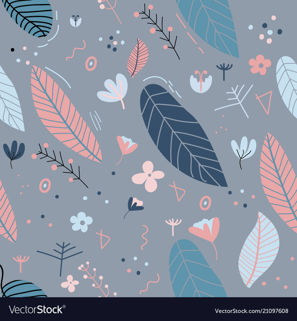 Flowers and leaf pattern pretty spring pastel