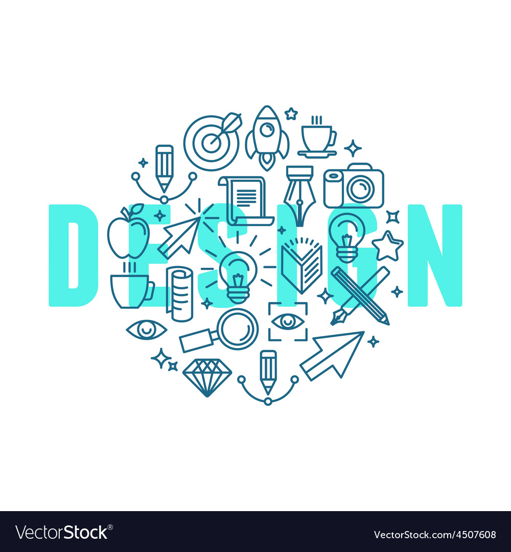 Graphic design concept in linear style vector image