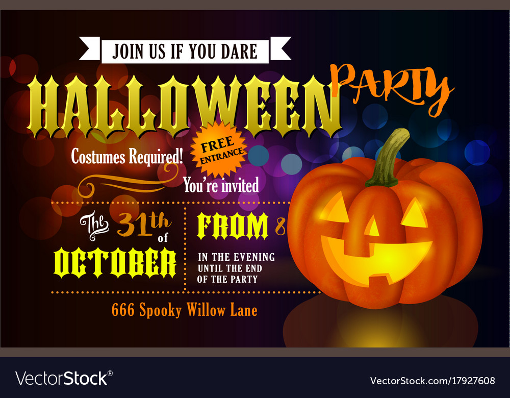 Halloween party invitation with pumpkin
