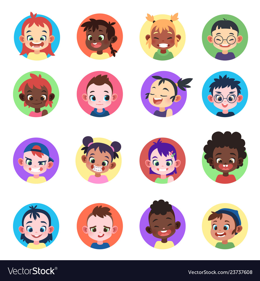 Kids avatar faces ethnic cute boys girls avatars