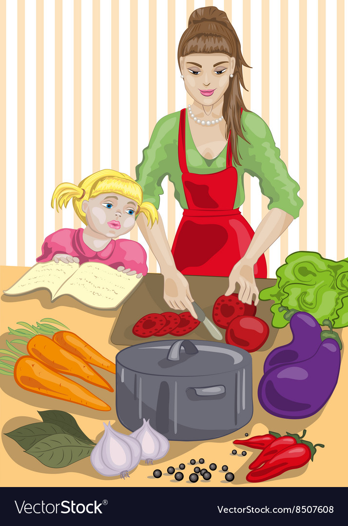 Mum and Daughter Cooking vector image