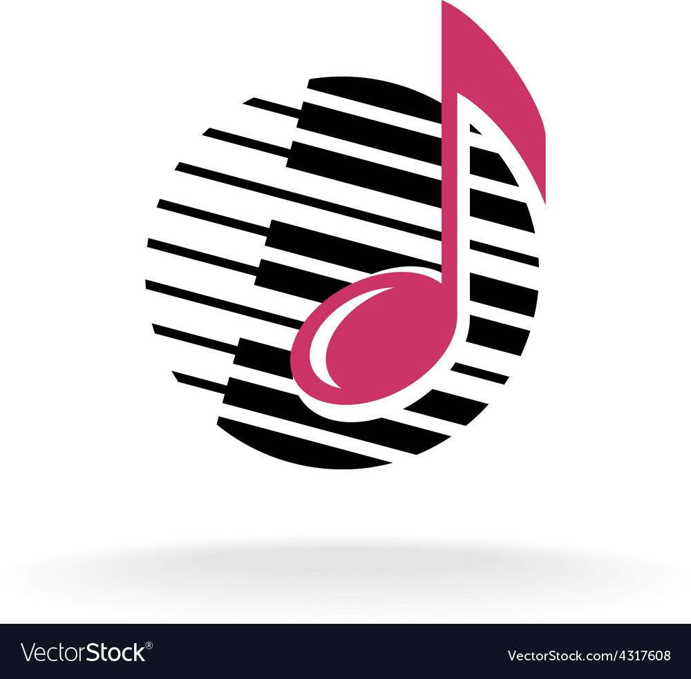 Note with piano keys logo vector image