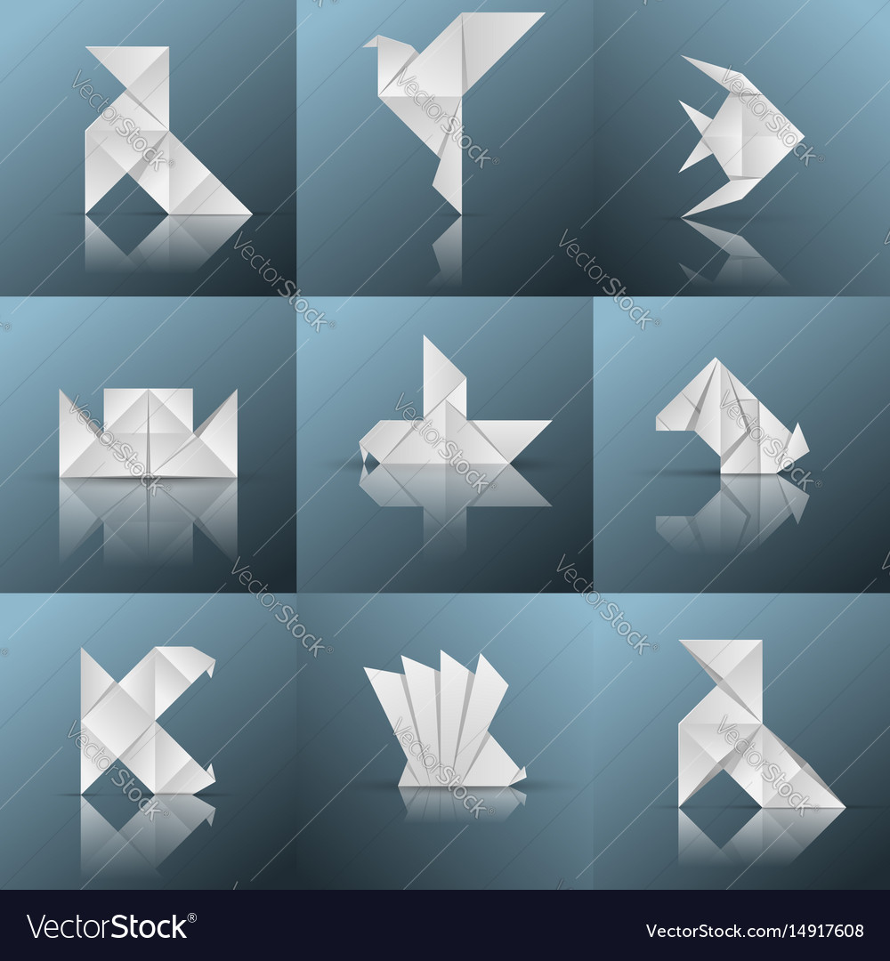 Origami icon ship pajarita pigeon fish vector image