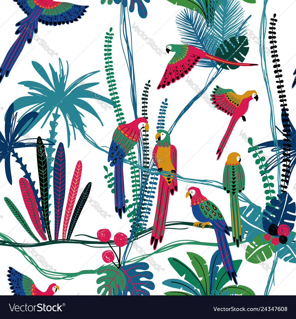 Seamless pattern with parrots in jungle