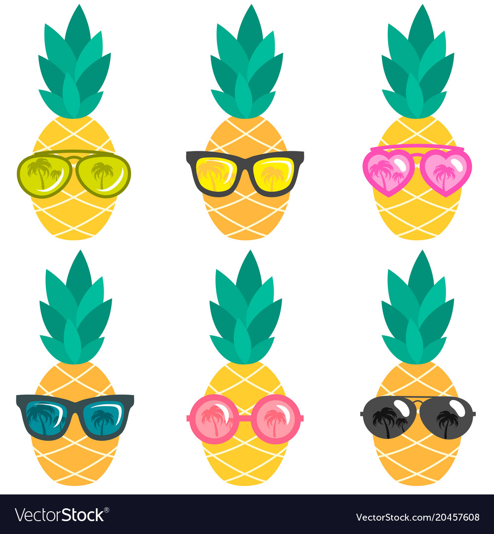 Set of pineapples with sunglasses