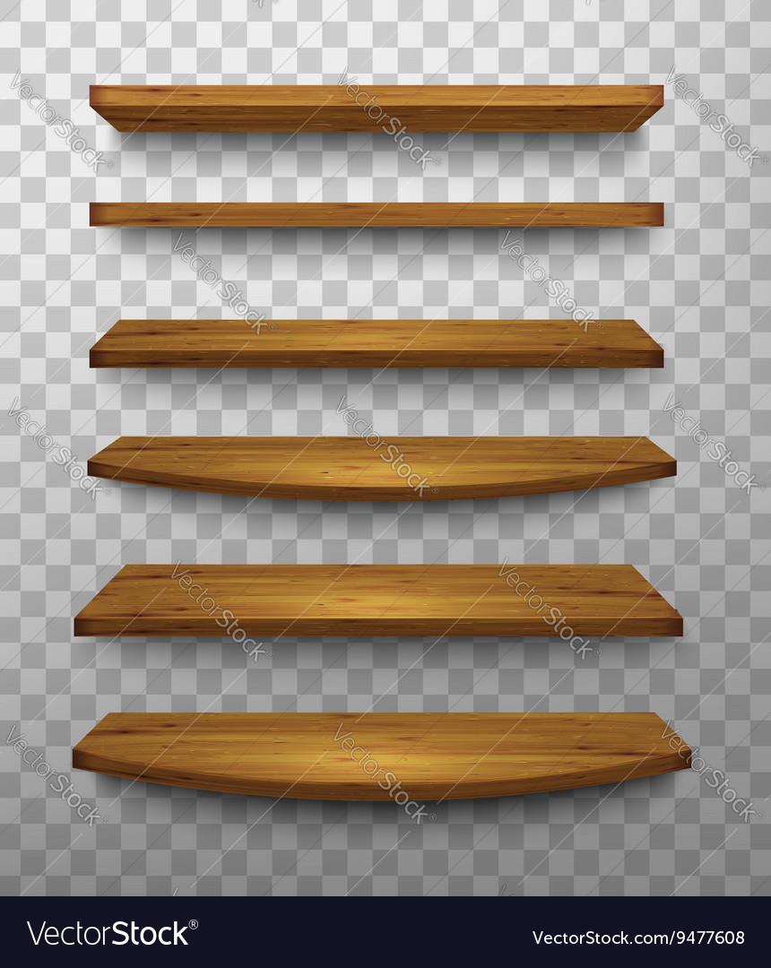 Set of wooden shelves on a transparent background