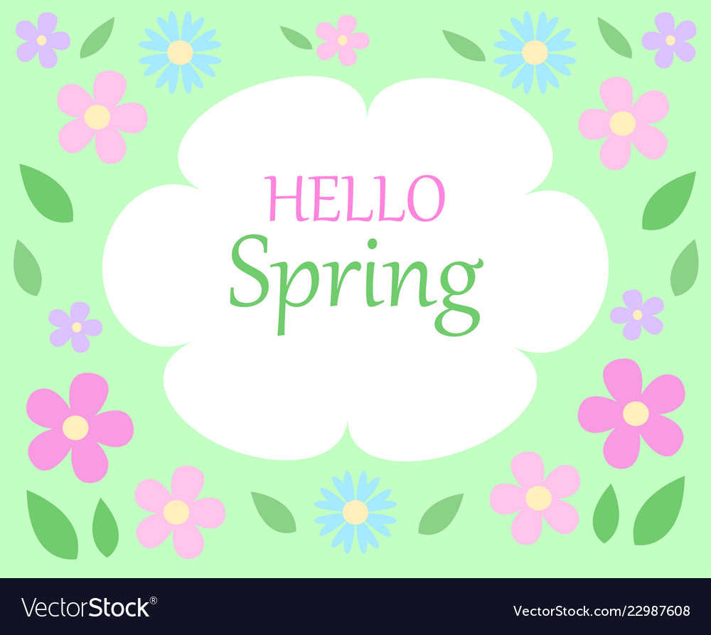 Spring floral bacground text hello spring on