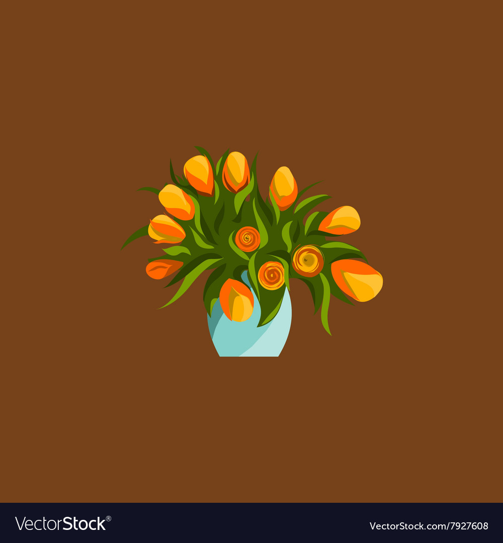 Spring flowers in vase bouquet flat icons