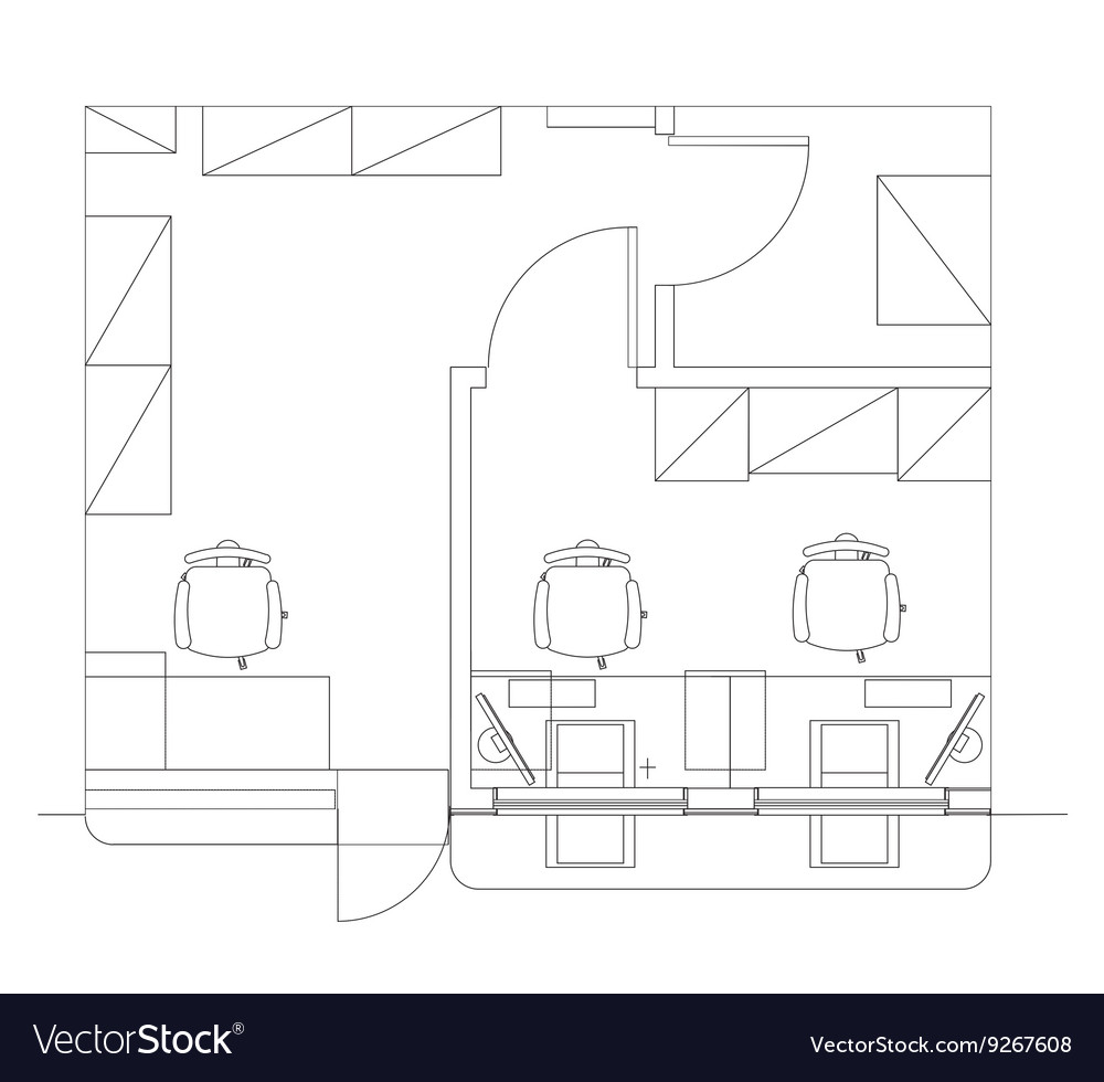 Standard Furniture Symbols Used In Architecture Vector Image