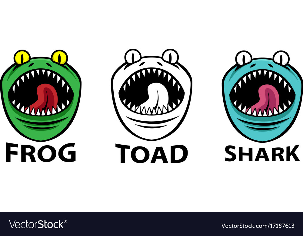 Angry frog toad and shark mascots