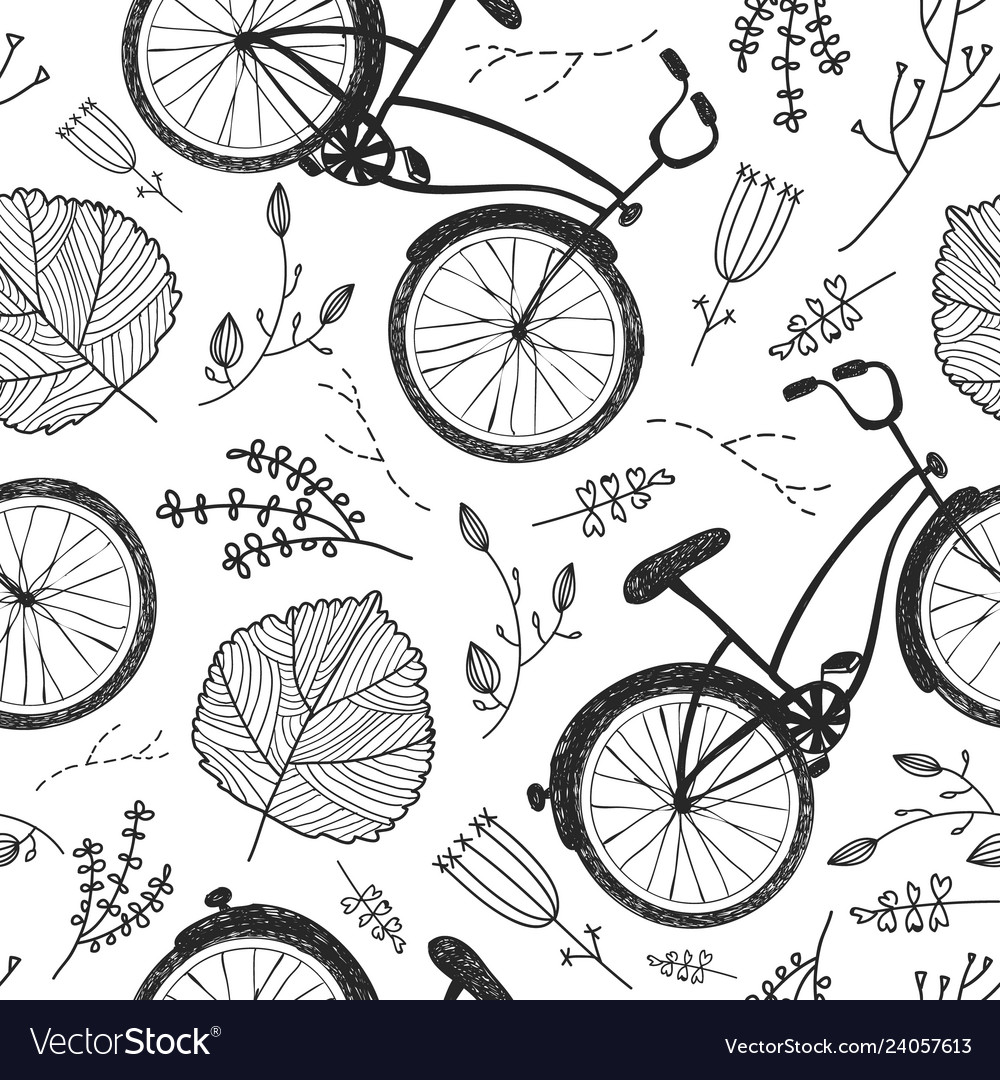Bicycles florals and leaves hand drawn