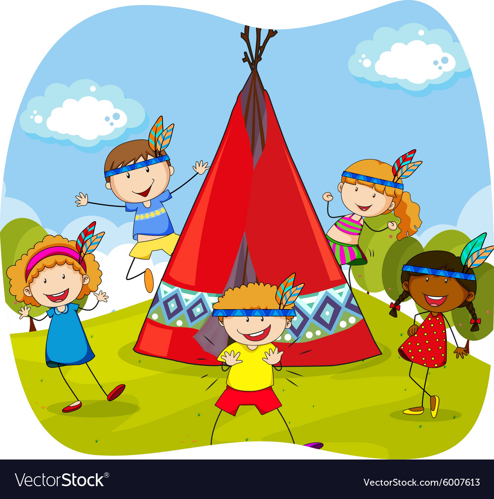 Children playing indians by the teepee