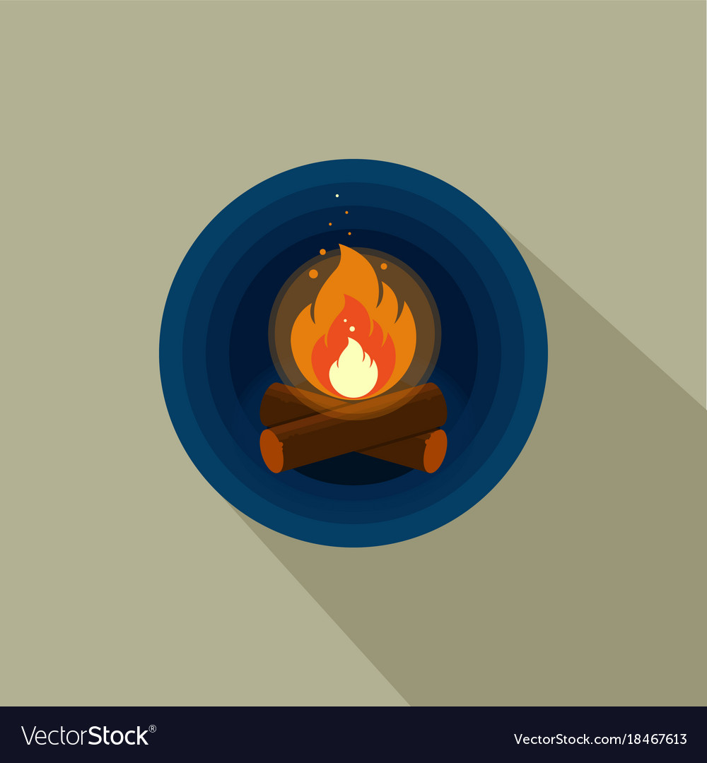 Color icon of bright bonfire with firewood on dark