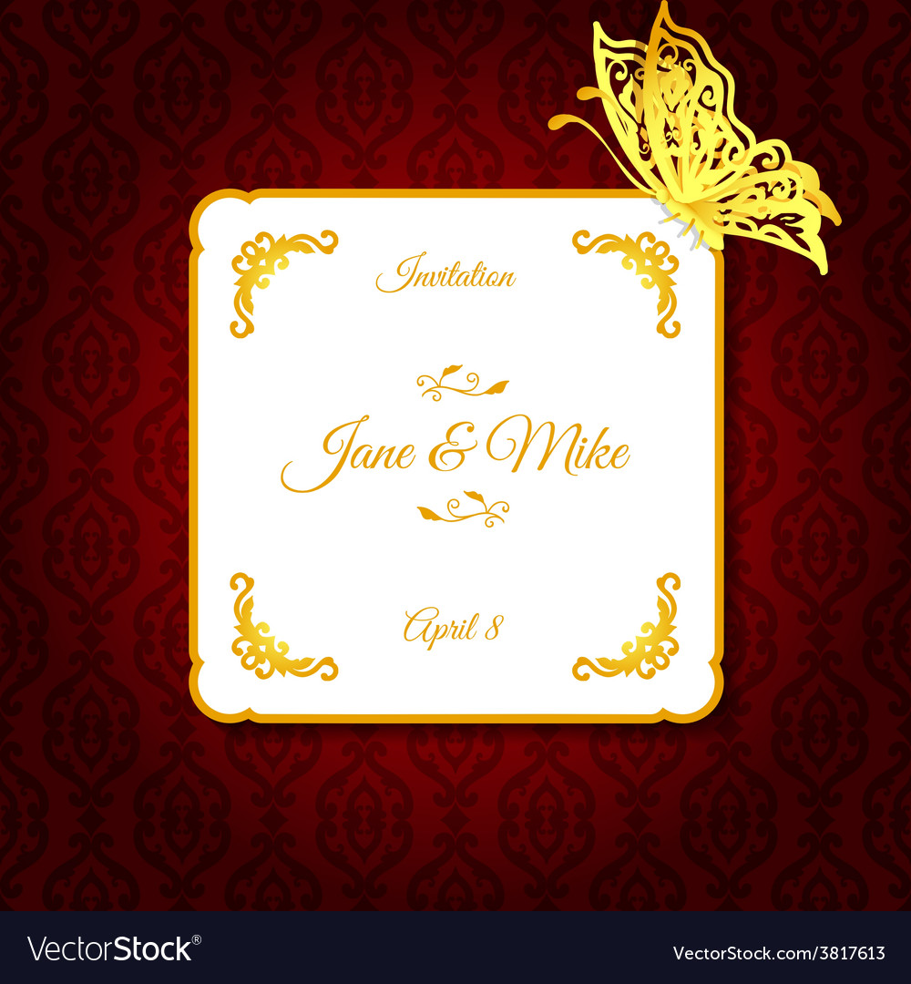 Elegant wedding invitation with paper butterfly Vector Image