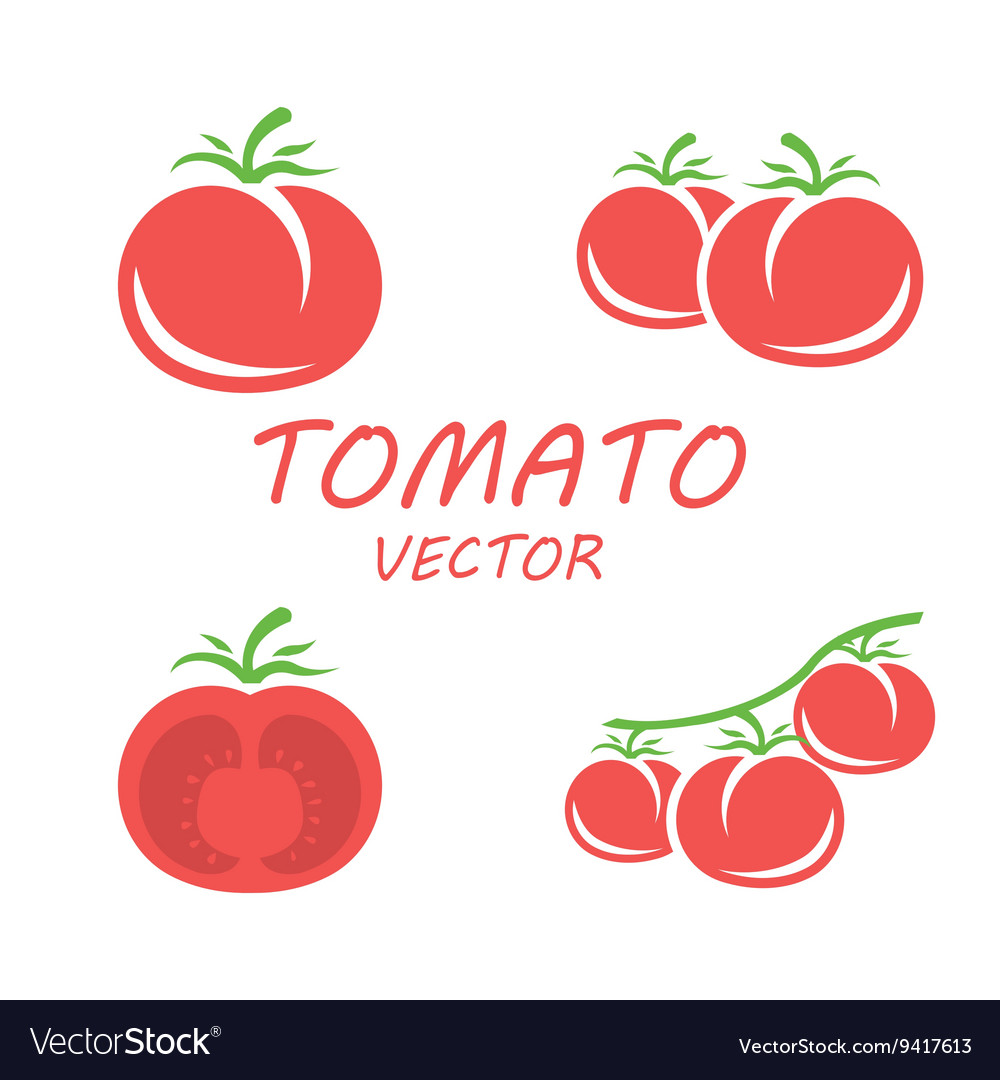 Flat tomato icons set