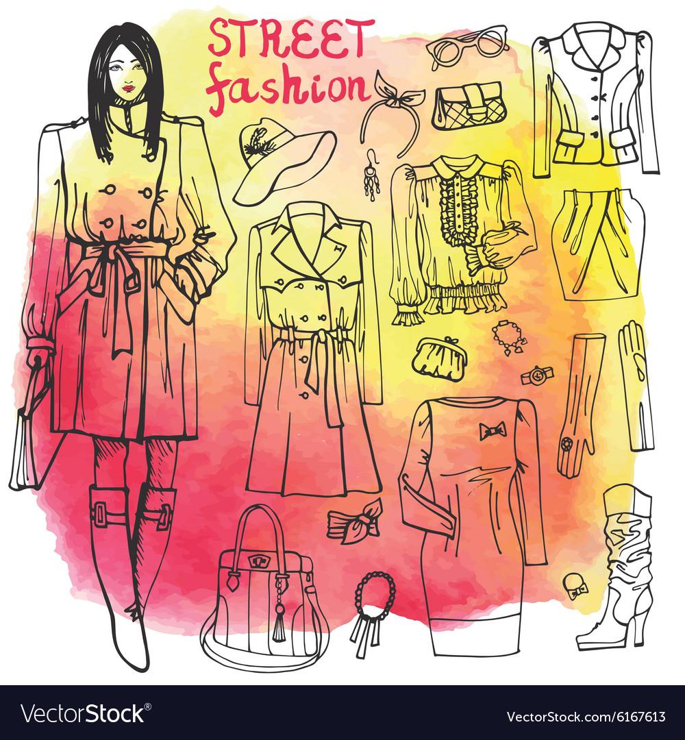 Girl and street fashion clothing setSketchy on