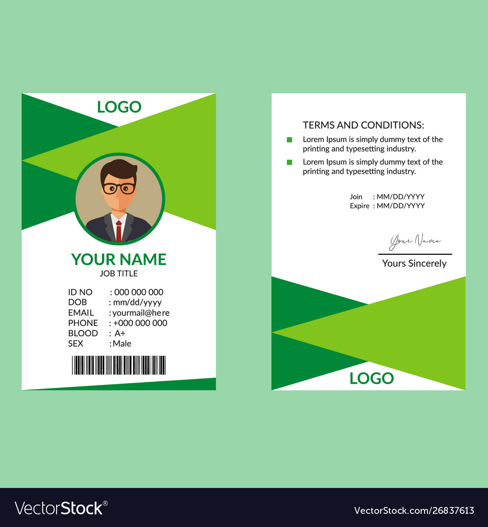 Green awesome id card template